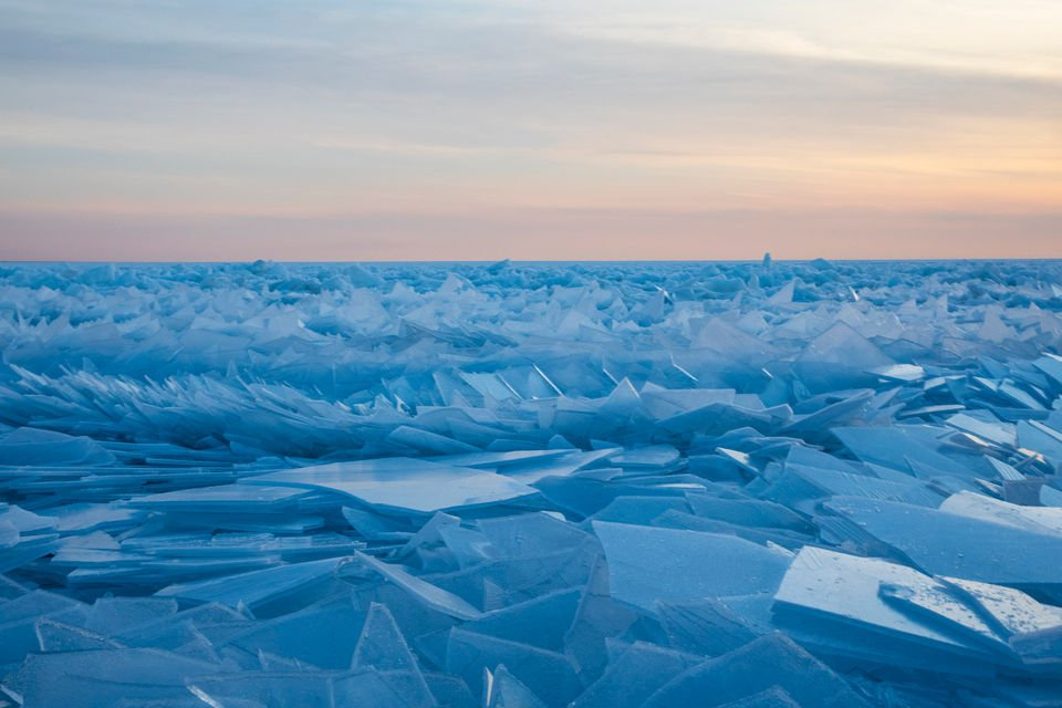 Gorgeous ice shards are piling up along Lake Michigan