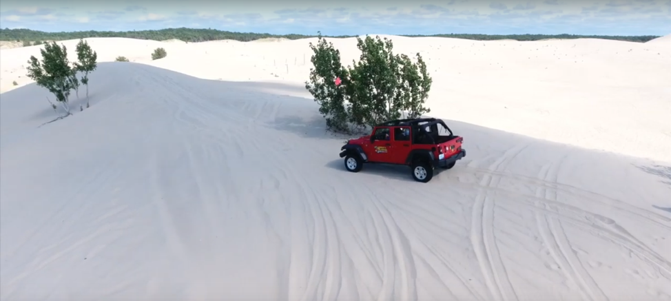 Renting a Jeep Wrangler from Parrot's Landing is the easiest way to explore the largest sand dunes east of the Mississippi River.