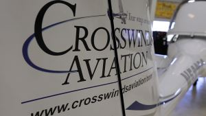 Crosswinds Aviation logo on an airplane rudder