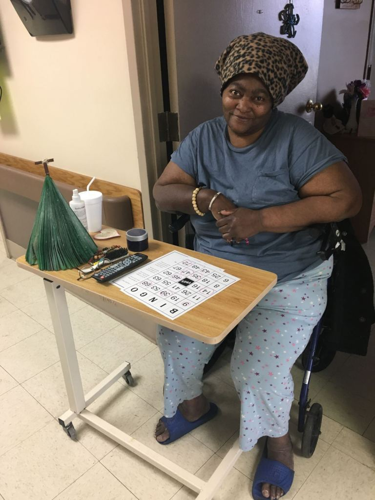 Residents at MediLodge of Lansing played hallway bingo. They also were treated with door-to-door delivery of ice cream sundaes!