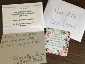 Cards of encouragement donated to MediLodge residents from Lakepointe Church