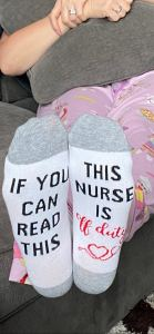 Nurses' sock with funny saying