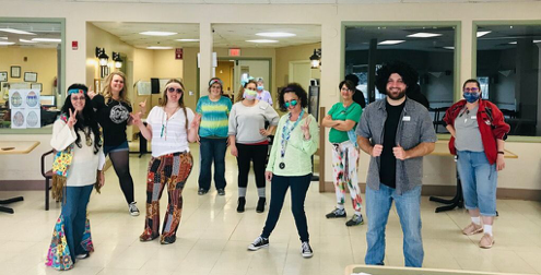 MediLodge staff members have been dressing up – and hamming it up for the camera – over the past several weeks. Staff members practiced some groovy social distancing during a 1960s-themed dress up day at MediLodge of Cass City.