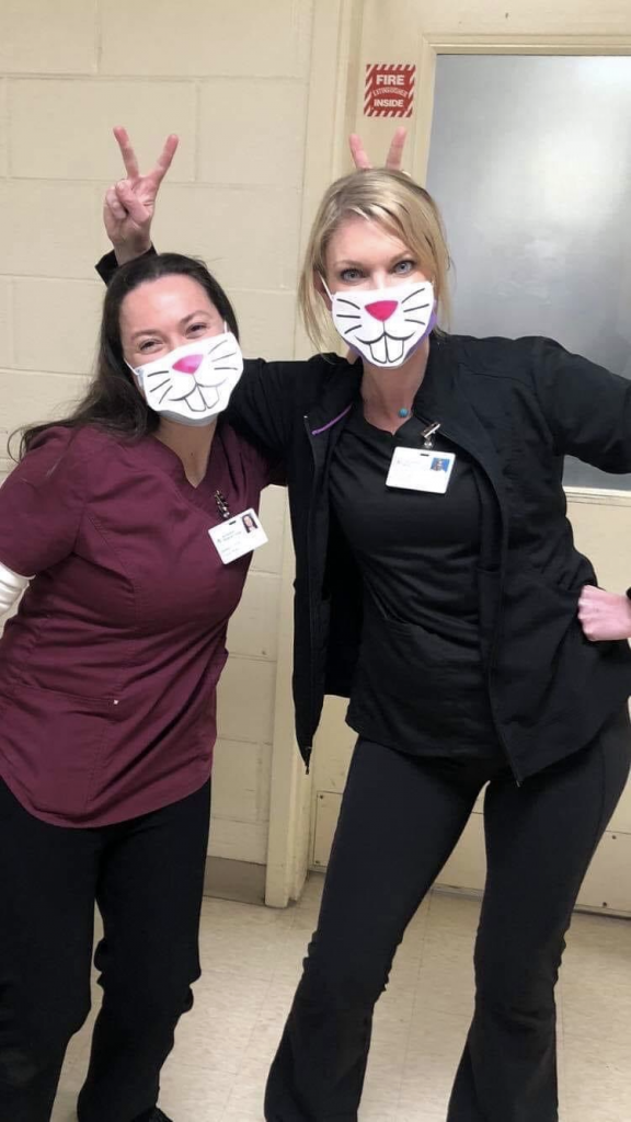 Staff members have been dressing up – and hamming it up for the camera – over the past several weeks, with some even covering their face masks with bunny faces. What's up, doc? Er, nurse!