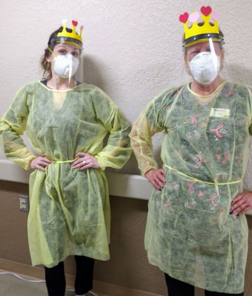 MediLodge staff members have been dressing up – and hamming it up for the camera – over the past several weeks. At MediLodge of Gaylord, Director of Admissions Della Rollins (left) and housekeeper Kathy Holton show off their royal crowns.