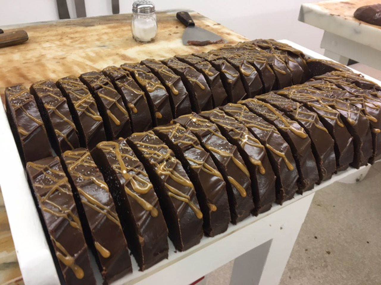 One of the most popular flavors at Original Murdick's Fudge on Mackinac Island is Double chocolate Caramel Sea Salt Fudge