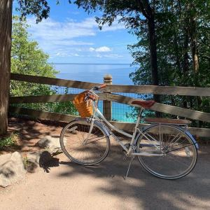 a bike on a trail near Mission Point Resort