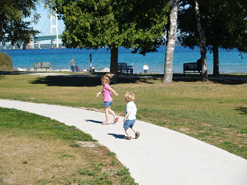 Kids playing in a Mackinaw area park