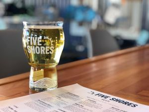 Five Shores Brewing beer glass and menu