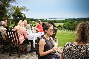 Outdoor dining at a winery in Traverse City, MI
