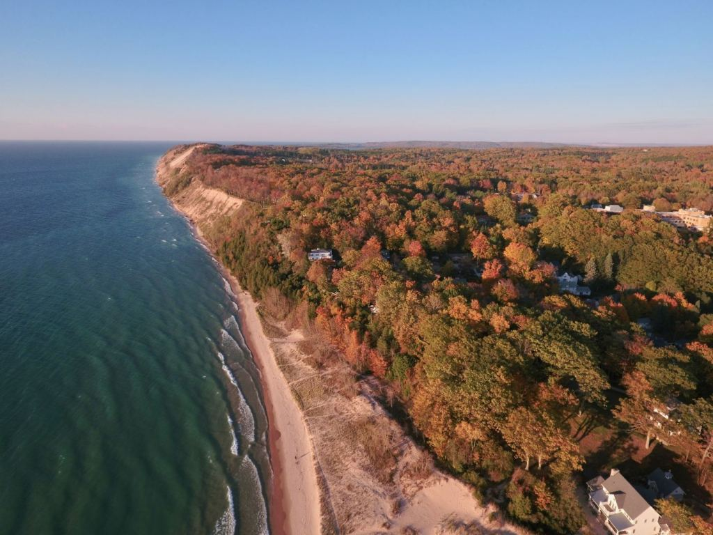 aerial view of Traverse City shoreline in the fall
