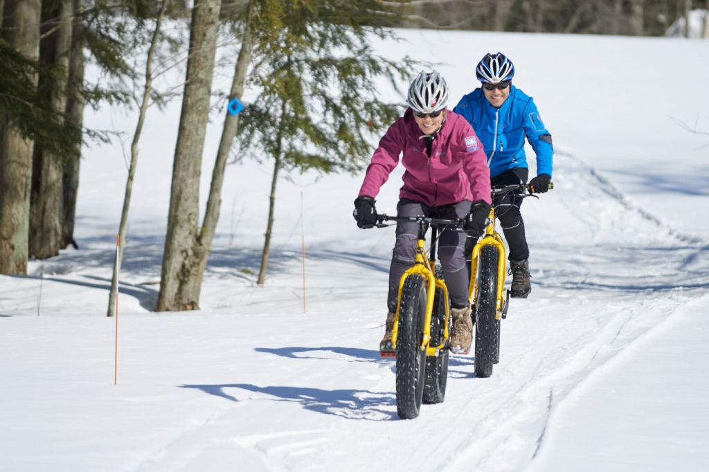 In addition to nearly 60 downhill ski runs, three terrain parks for snowboarding and 25 kilometers of cross-country trails, Crystal Mountain is a winter playground for fat-tire biking, snowmobiling, ice skating and snowshoeing, too.