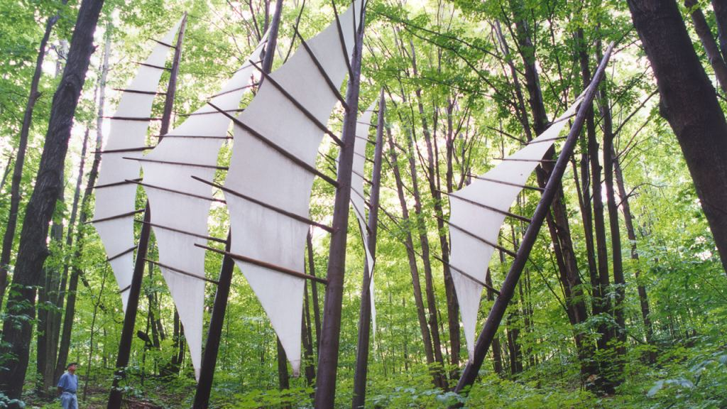 The Michigan Legacy Art Park is located on the grounds of Crystal Mountain in a densely wooded, 30-acre preserve on 1.6 miles of hiking trails. The park is open year-round with over 50 sculptures that reflect on a piece of Michigan's history.