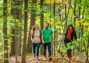 friends walking through the woods in Traverse City, MI