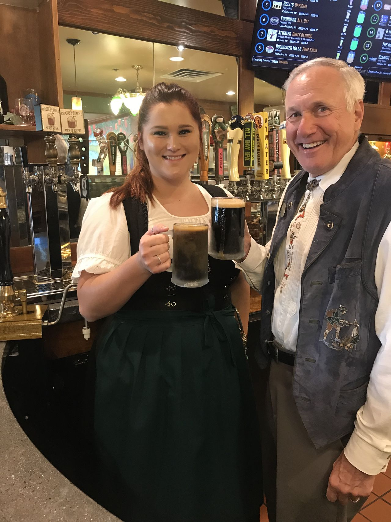 The Bavarian Inn President Bill Zehnder and head root beer maker Phoebe Beyerlein show off their house made root beer