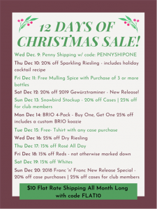 Shady Lane Cellars Christmas Sale info