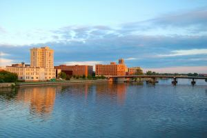 Downtown Saginaw, MI skyline along the river